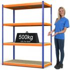Heavy Duty Steel Shelving Rax 1 - Blue and Orange with Chipboard Shelves - various sizes