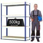 Heavy Duty Steel Shelving Rax 1 - Blue and White with Chipboard Shelves - various sizes