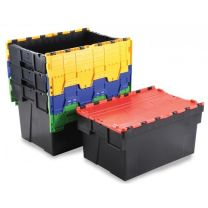 Pack of Two Euro Containers With Attached Coloured Lids
