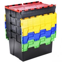 Pack of Two Euro Containers With Attached Coloured Lids - Various Size Options