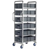 Euro Stacking Container Trolley - 6 or 8 Tiers With Brake