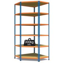 Rax 2 Corner Medium Duty Shelving - Blue and Orange