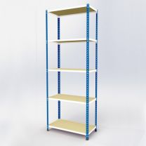 Medium Duty Steel Shelving Rax 2 - Blue and White with Chipboard Shelves - various sizes