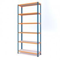 Medium Duty Steel Shelving Rax 2 - Blue and Orange with Melamine Shelves - various sizes