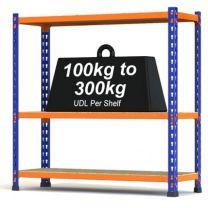Medium duty steel shelving in orange and blue powder coated finish