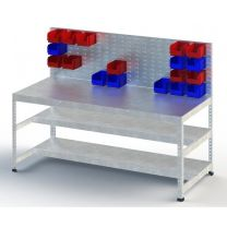 Galvanised Heavy Duty Workbench with Louvre Panel and Three Levels - Various Sizes Available
