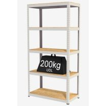 Rax Value Steel Shelving - Smoke White with MDF Shelves + Free Mallet